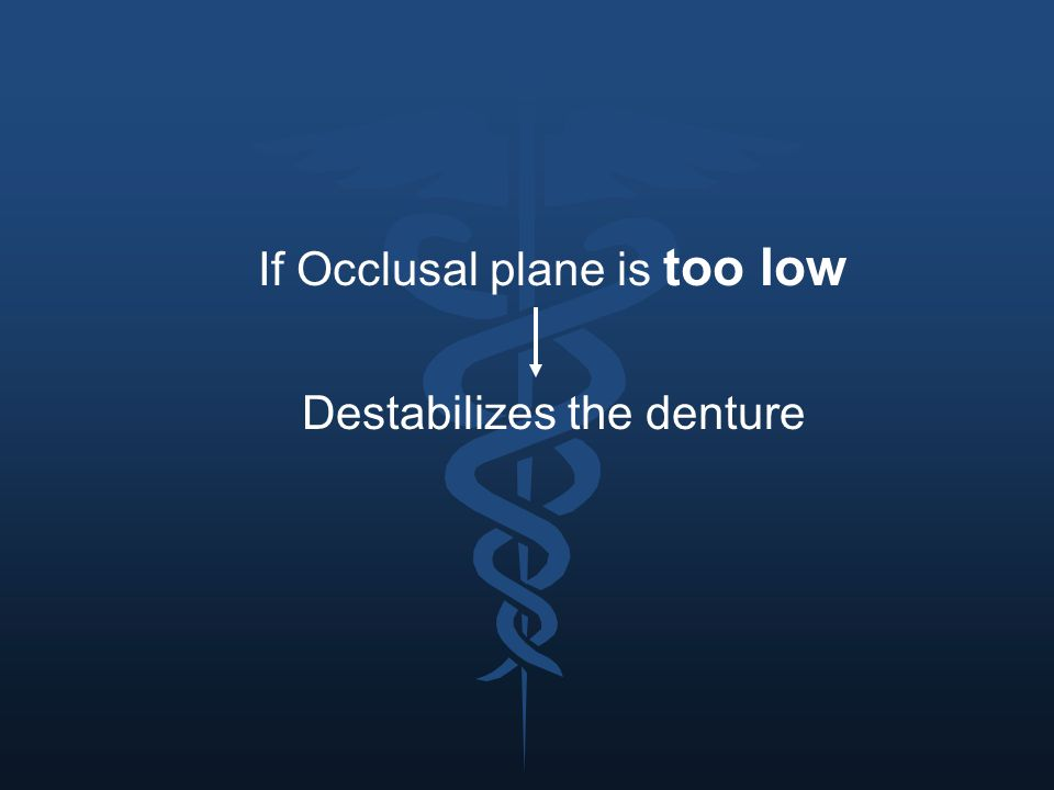 If Occlusal plane is too low Destabilizes the denture