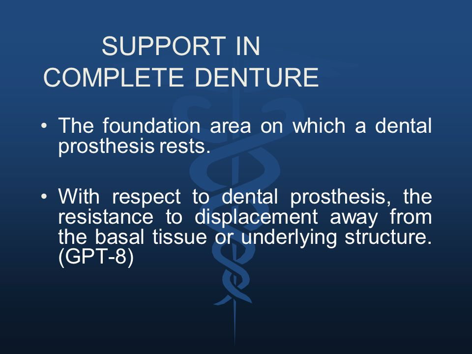 SUPPORT IN COMPLETE DENTURE