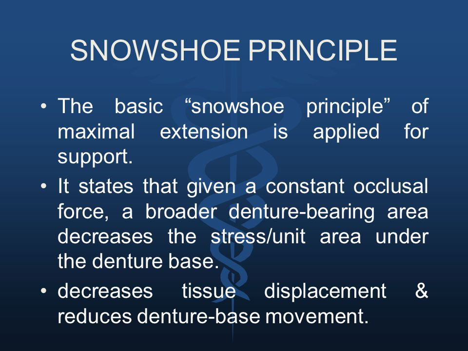 SNOWSHOE PRINCIPLE The basic snowshoe principle of maximal extension is applied for support.