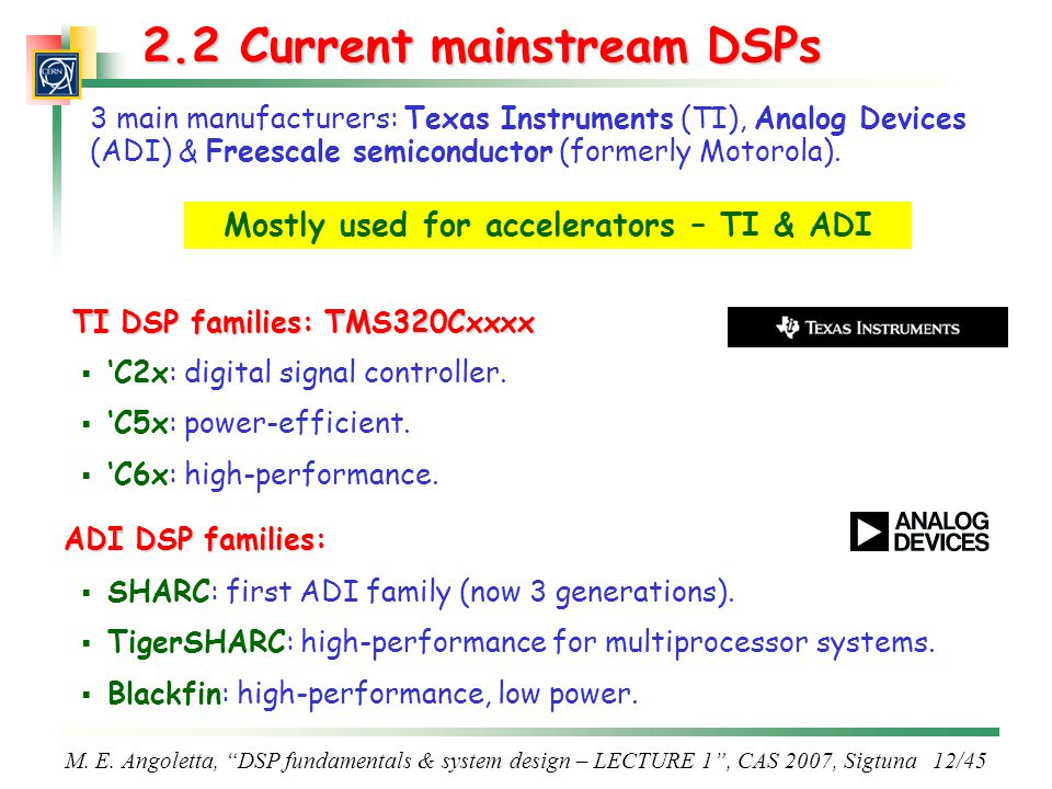 2.2 Current mainstream DSPs