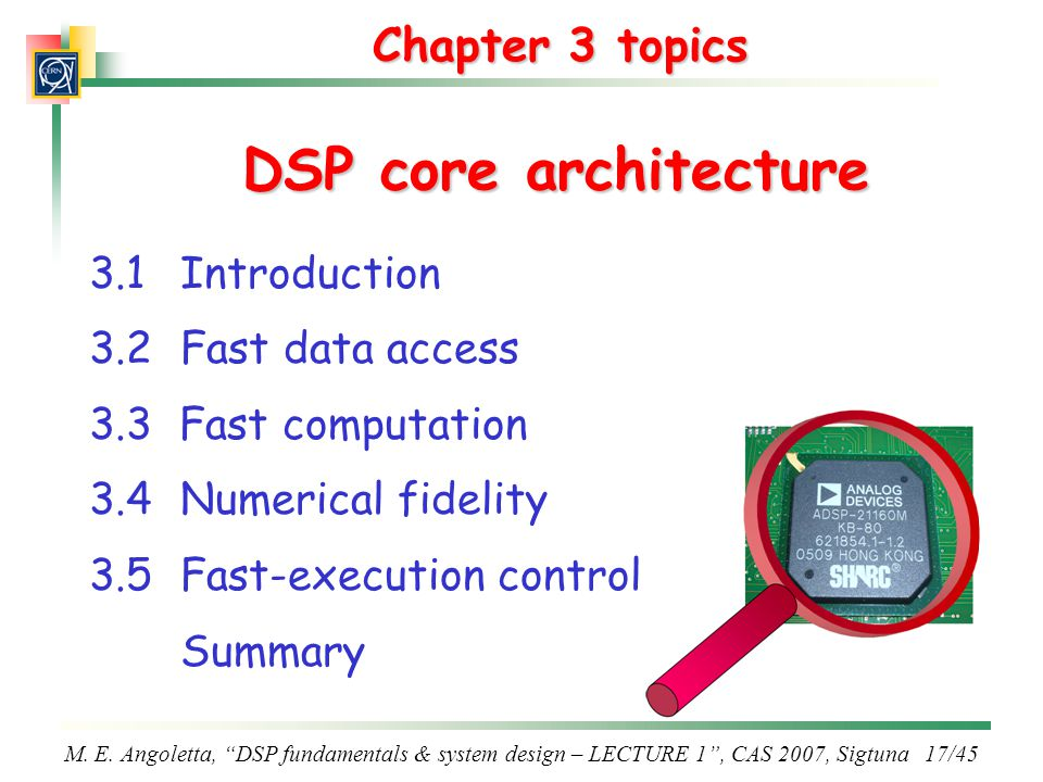 DSP core architecture Chapter 3 topics 3.1 Introduction