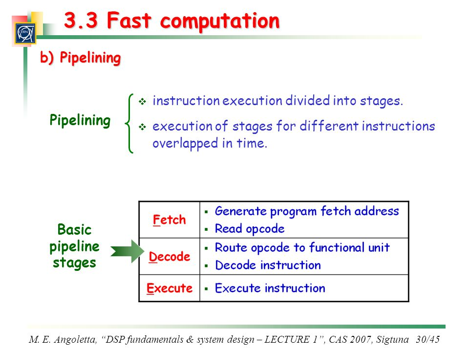3.3 Fast computation b) Pipelining Pipelining Basic pipeline stages