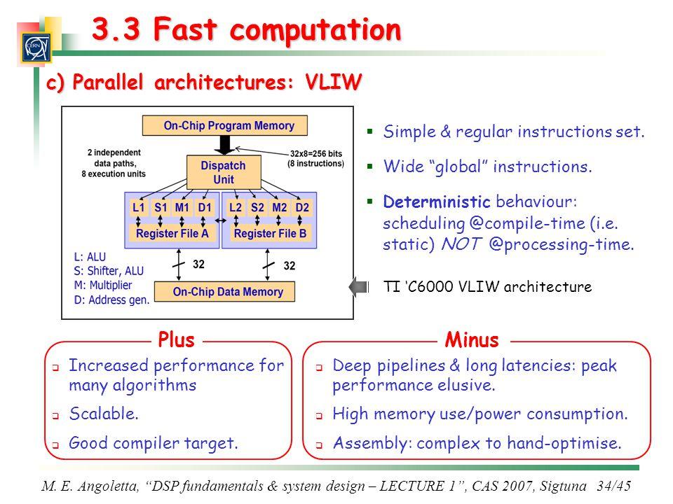 3.3 Fast computation c) Parallel architectures: VLIW Plus Minus
