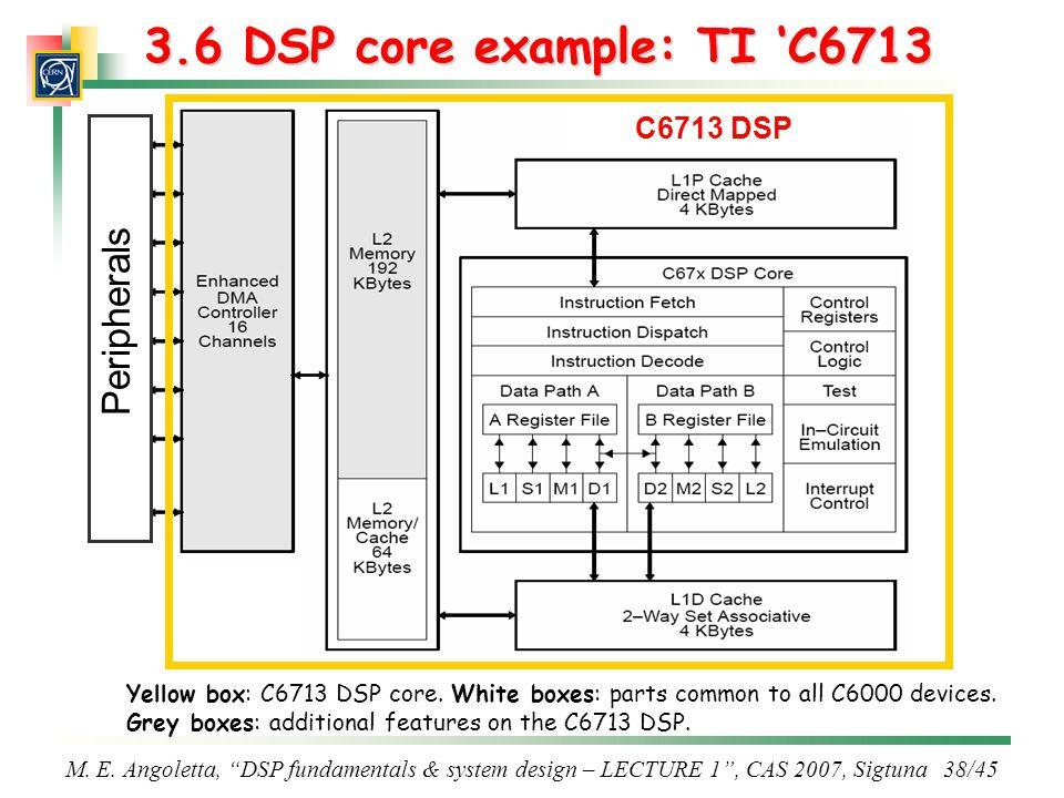 3.6 DSP core example: TI 'C6713 Peripherals C6713 DSP