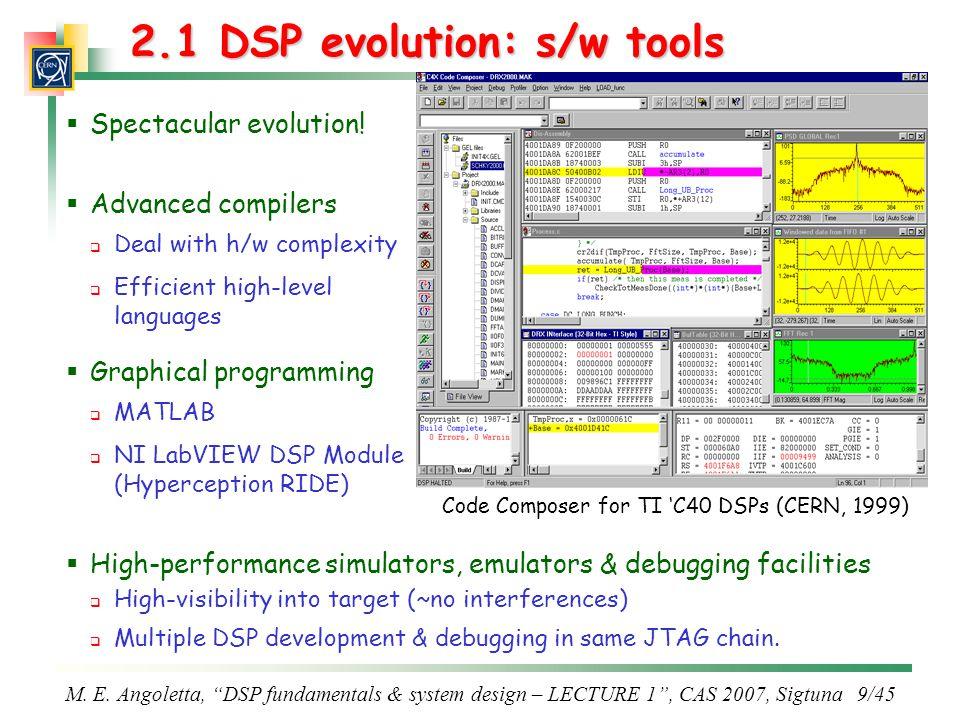2.1 DSP evolution: s/w tools
