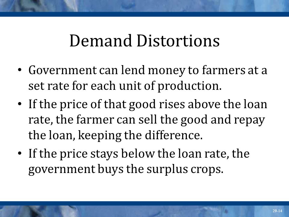 Demand Distortions Government can lend money to farmers at a set rate for each unit of production.