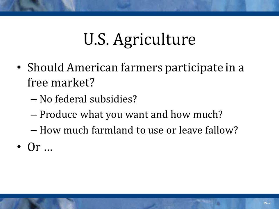 U.S. Agriculture Should American farmers participate in a free market