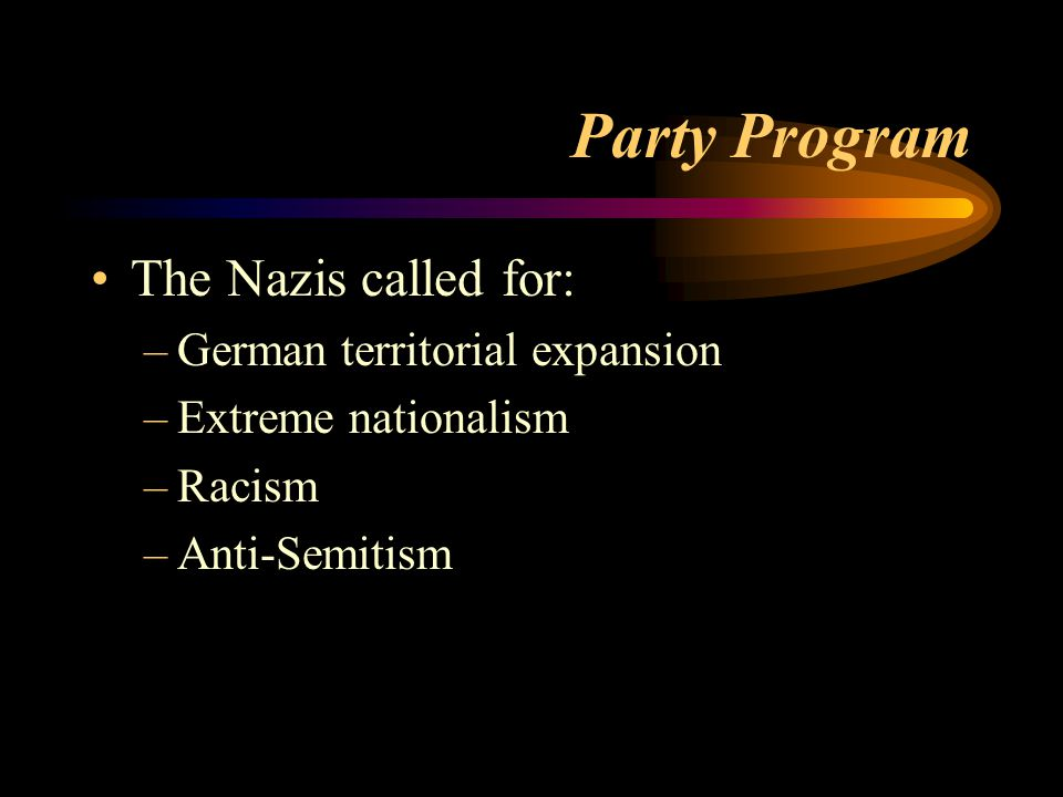 Party Program The Nazis called for: German territorial expansion