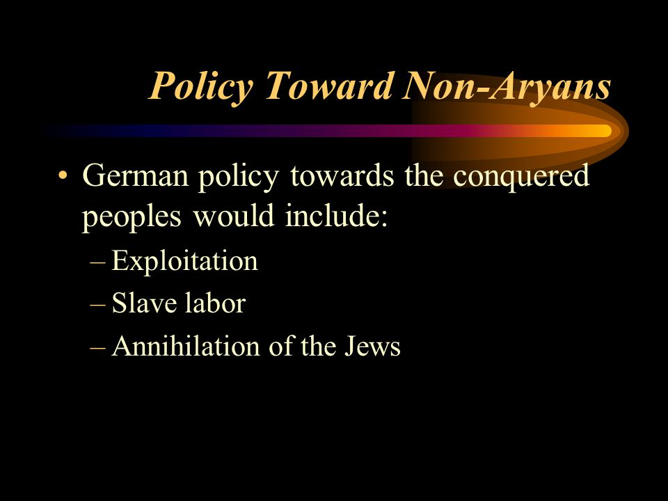 Policy Toward Non-Aryans