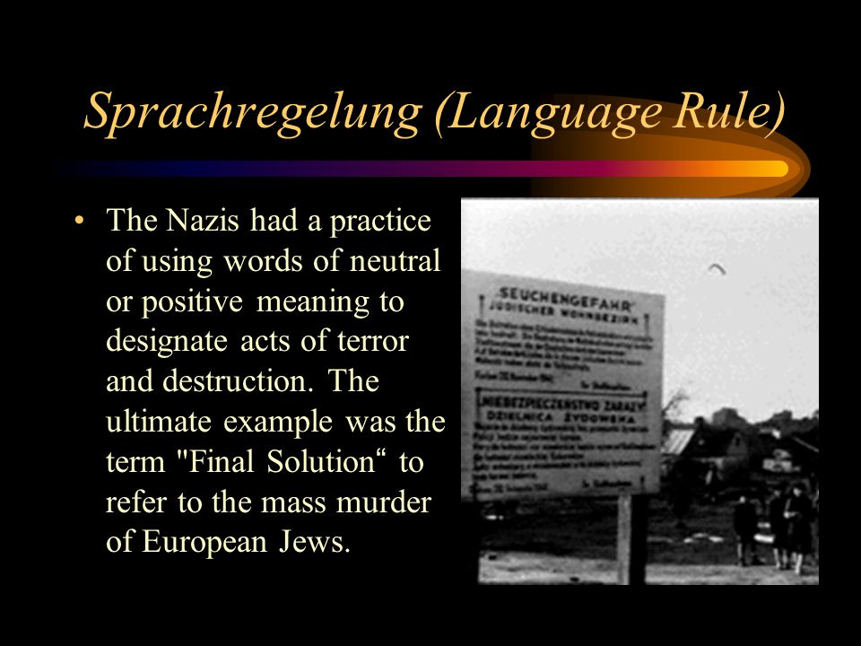 Sprachregelung (Language Rule)