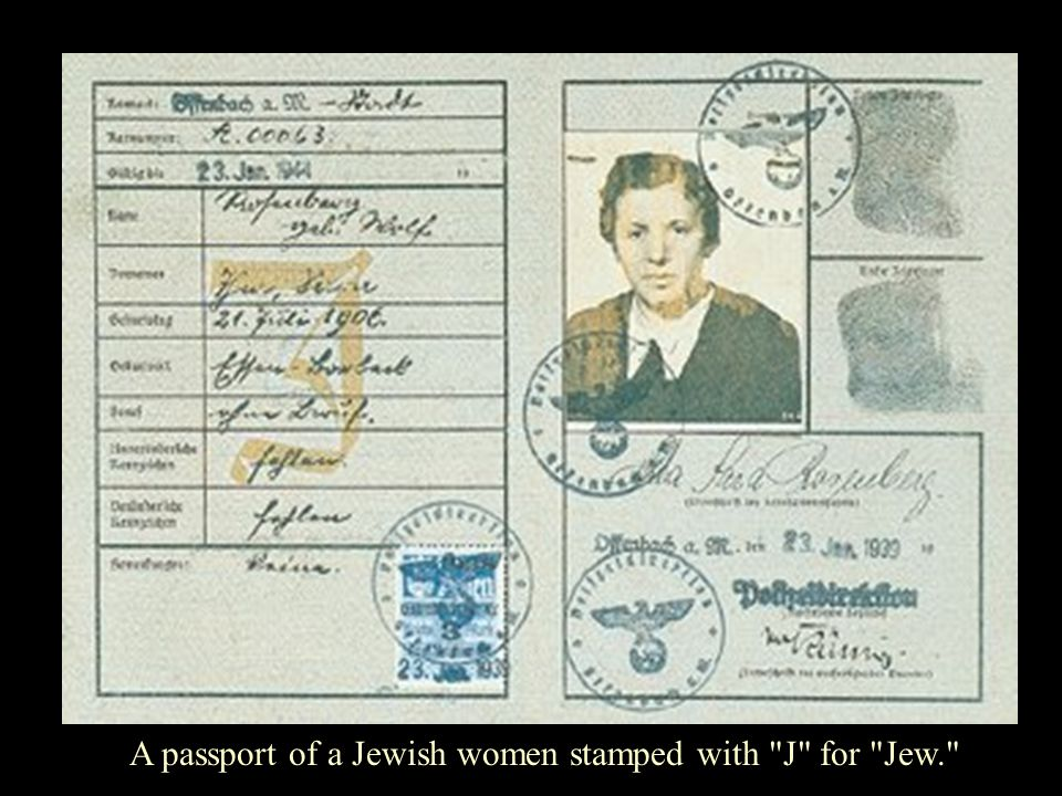A passport of a Jewish women stamped with J for Jew.