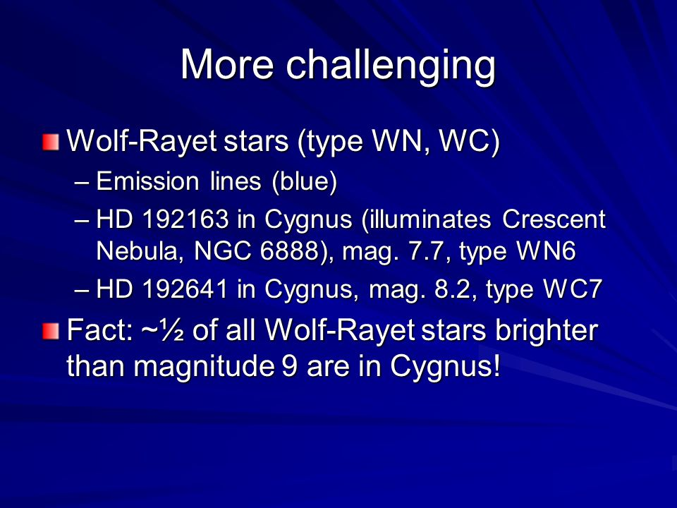 More challenging Wolf-Rayet stars (type WN, WC)