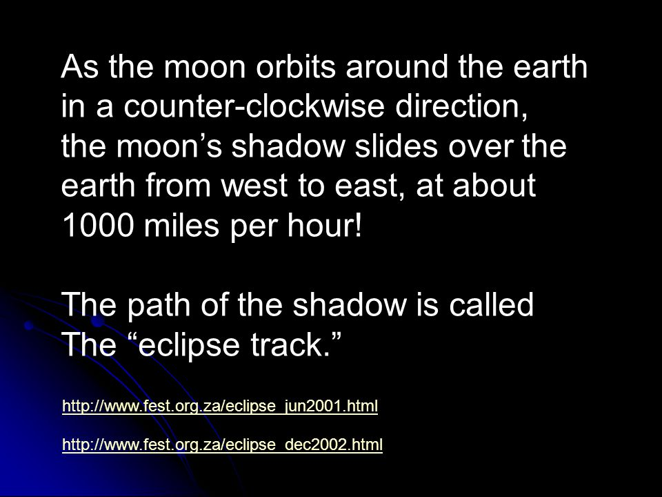 As the moon orbits around the earth in a counter-clockwise direction,