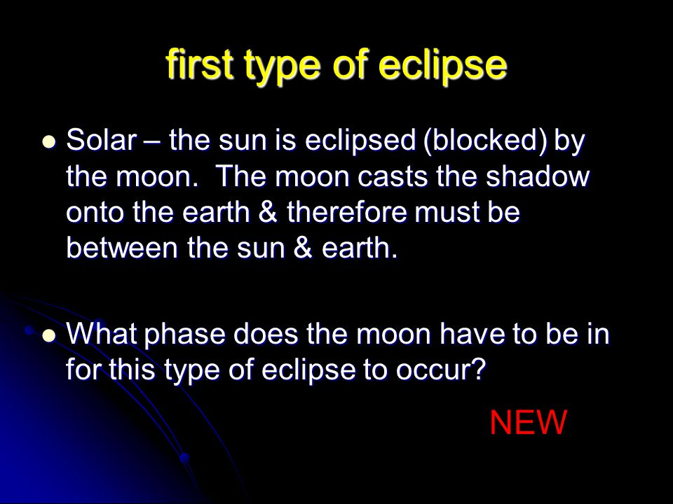 first type of eclipse NEW