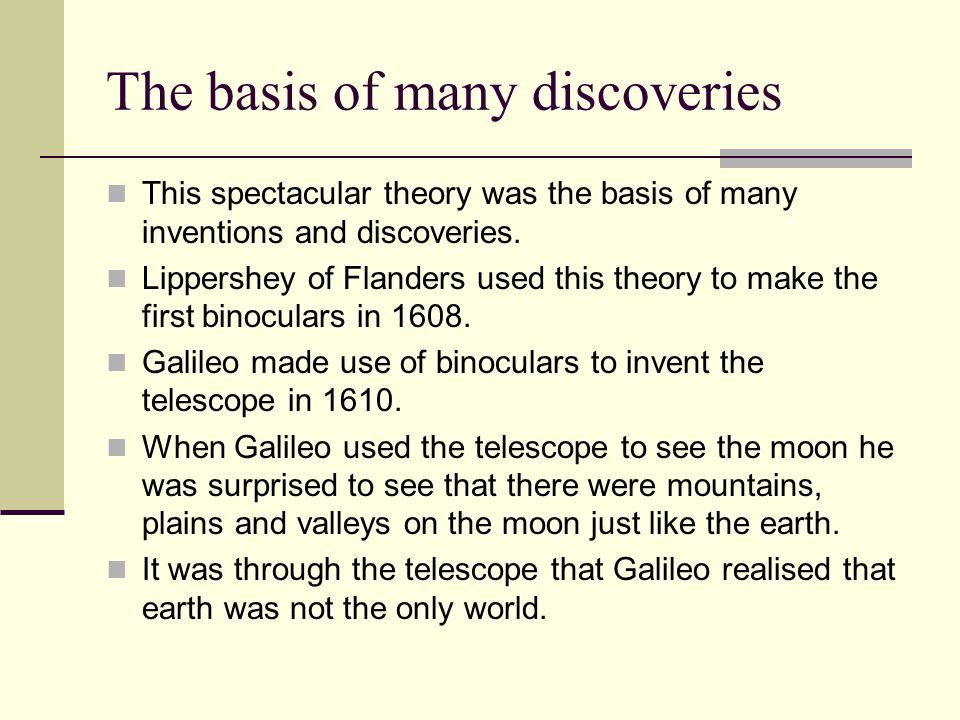 The basis of many discoveries