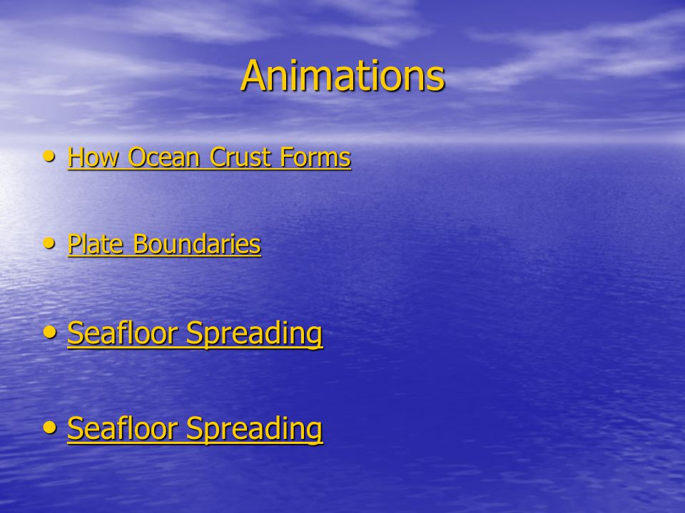 Animations How Ocean Crust Forms Plate Boundaries Seafloor Spreading