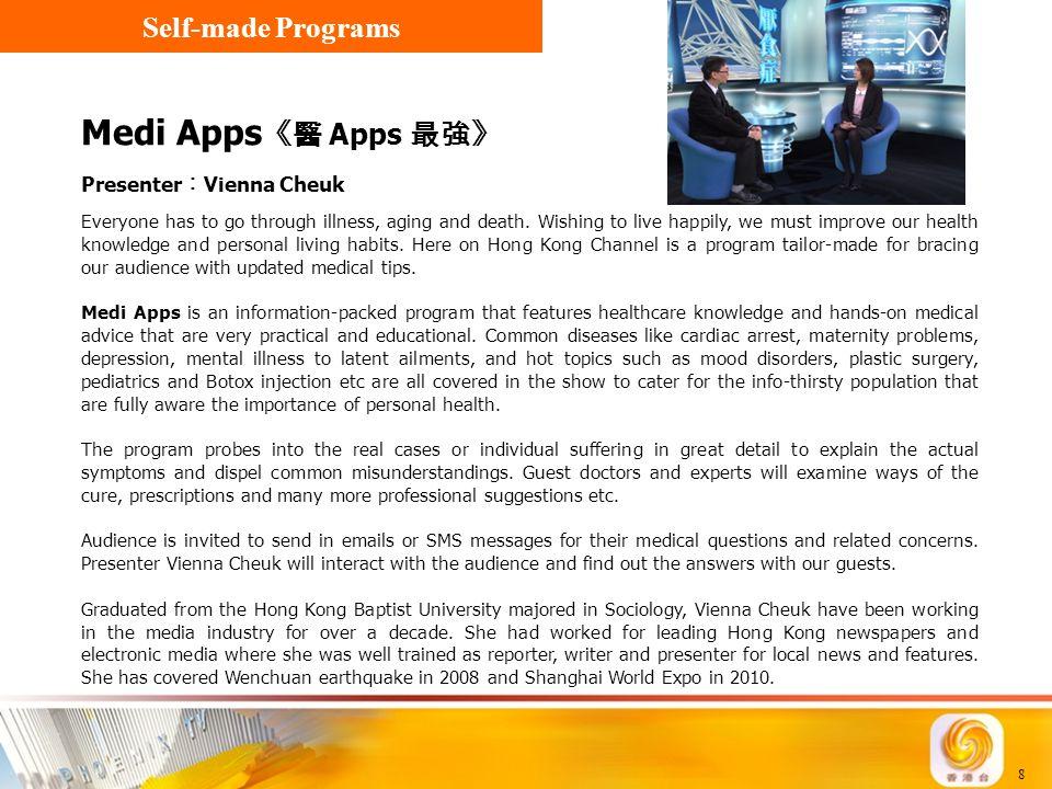 Medi Apps《醫 Apps 最強》 Self-made Programs Presenter︰Vienna Cheuk