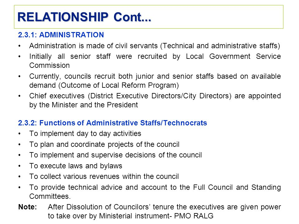 RELATIONSHIP Cont... 2.3.1: ADMINISTRATION