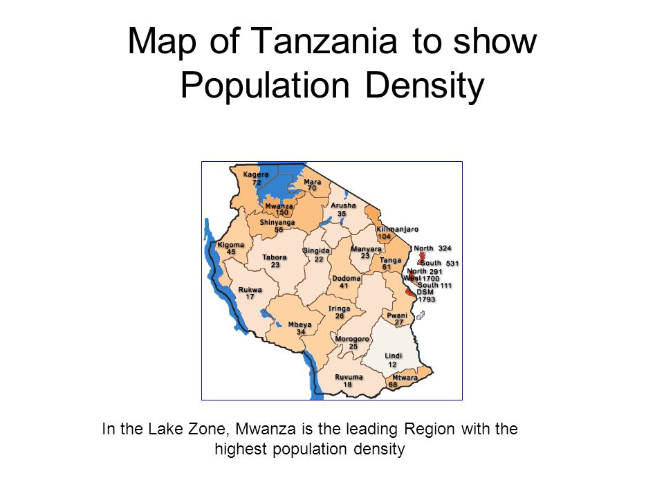 Map of Tanzania to show Population Density
