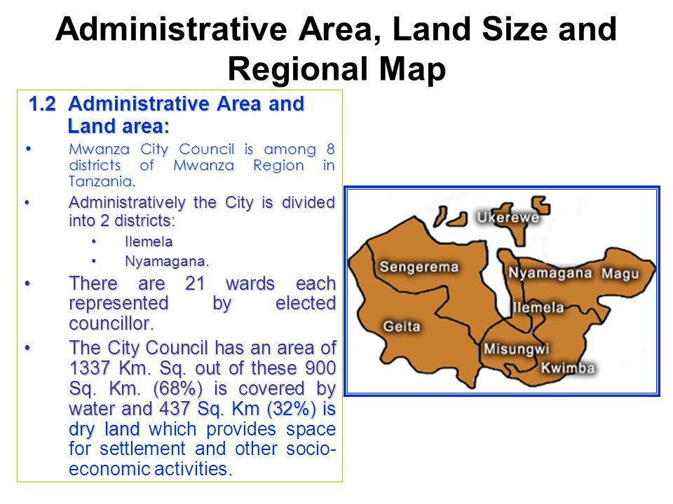 Administrative Area, Land Size and Regional Map