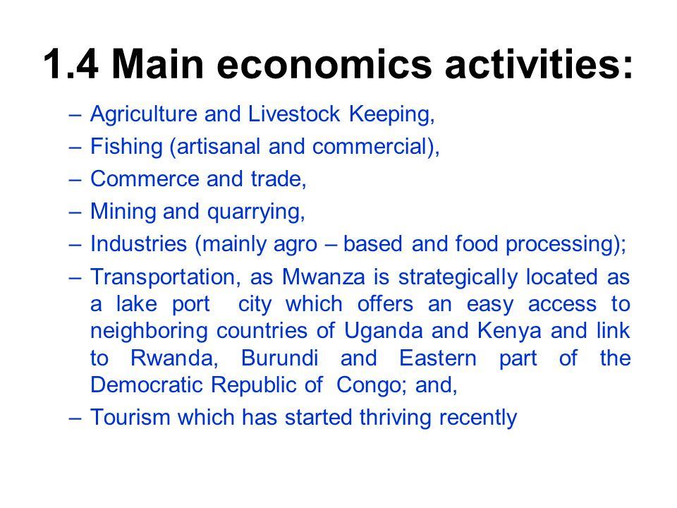 1.4 Main economics activities: