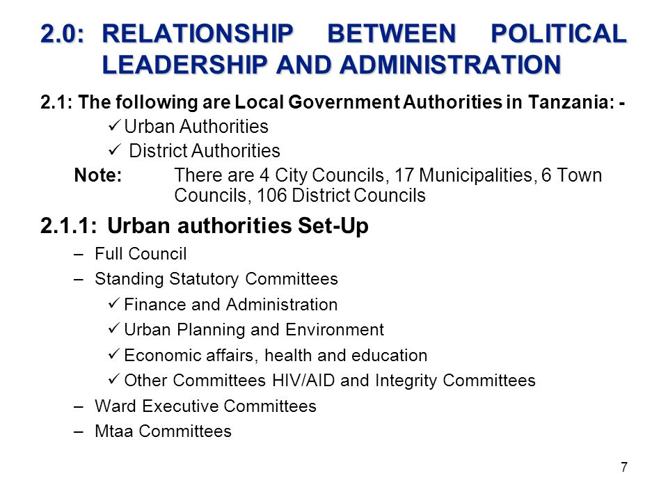 2.0: RELATIONSHIP BETWEEN POLITICAL LEADERSHIP AND ADMINISTRATION