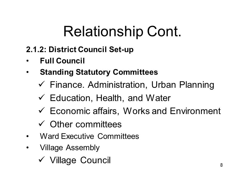 Relationship Cont. Finance. Administration, Urban Planning