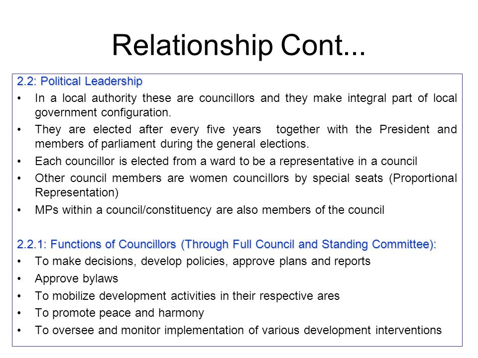 Relationship Cont... 2.2: Political Leadership