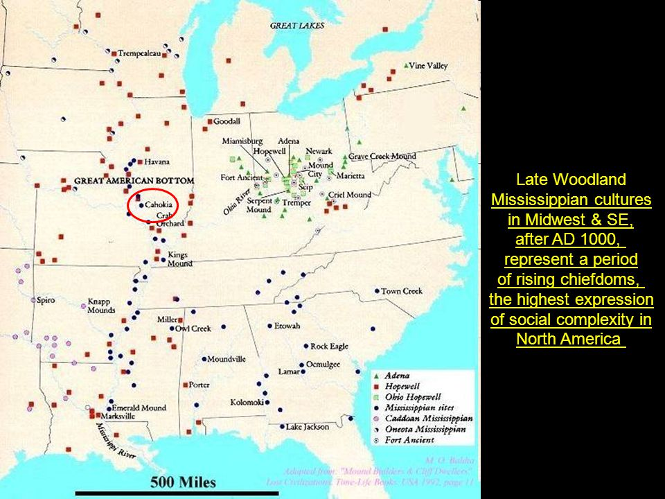 Mississippian cultures in Midwest & SE, after AD 1000,