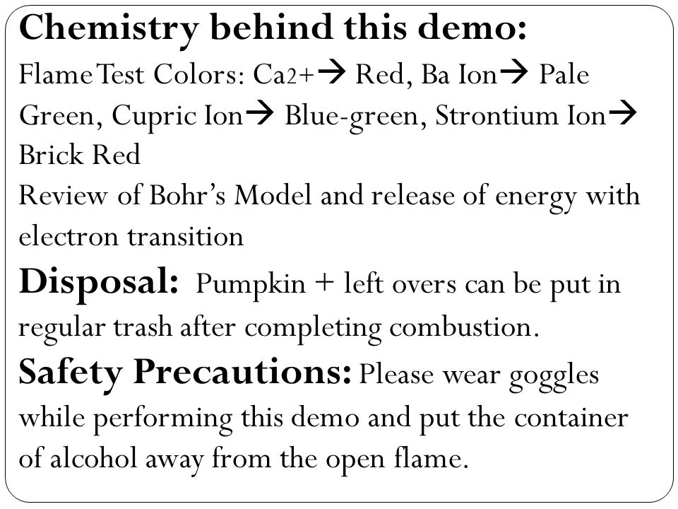 Chemistry behind this demo: