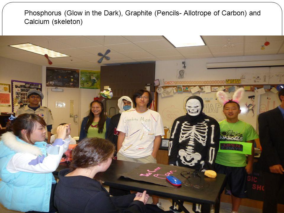 Phosphorus (Glow in the Dark), Graphite (Pencils- Allotrope of Carbon) and Calcium (skeleton)
