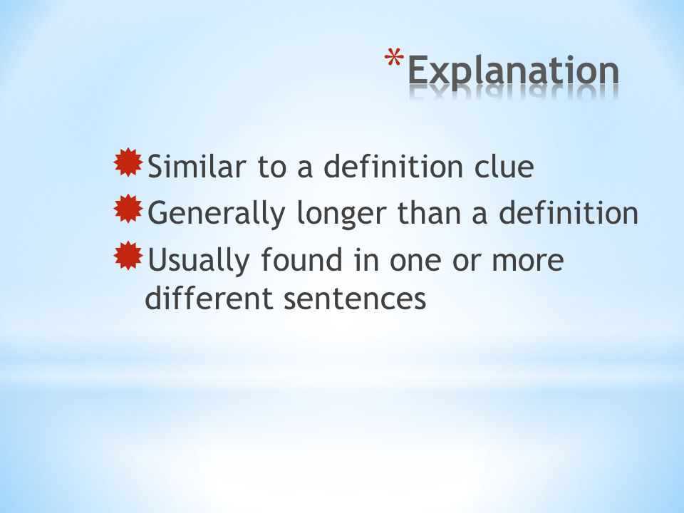Explanation Similar to a definition clue