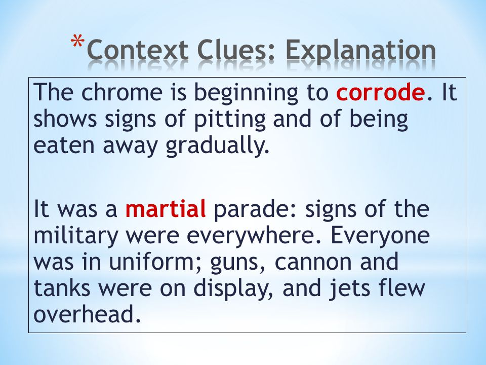 Context Clues: Explanation