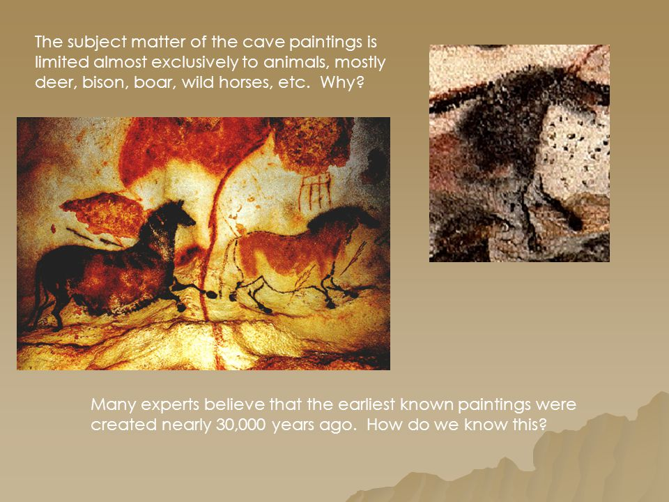 The subject matter of the cave paintings is limited almost exclusively to animals, mostly deer, bison, boar, wild horses, etc. Why