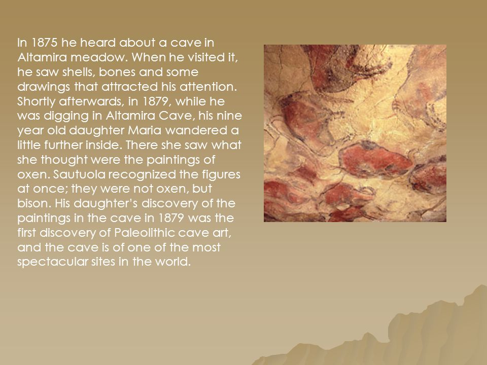 In 1875 he heard about a cave in Altamira meadow
