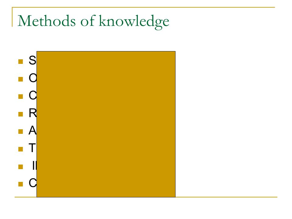 Methods of knowledge SURVEY METHOD OBSERVATIONS CONJECTURES