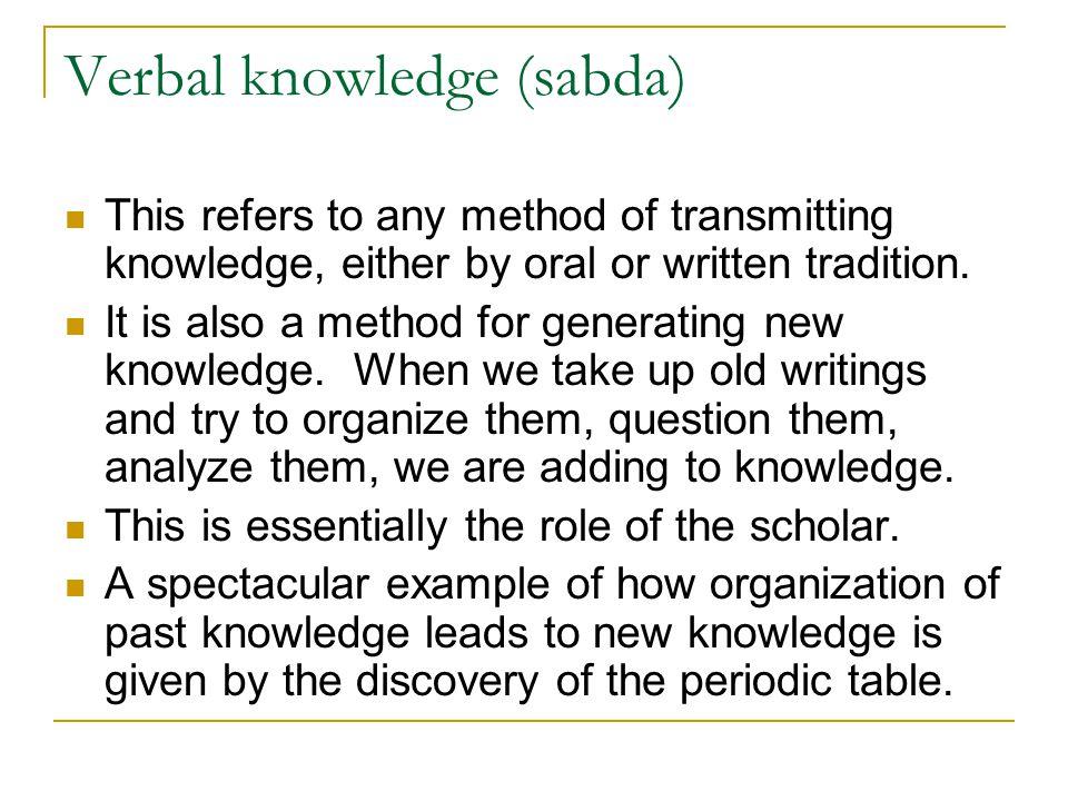 Verbal knowledge (sabda)
