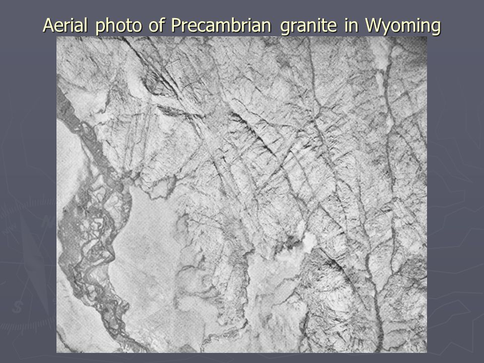 Aerial photo of Precambrian granite in Wyoming