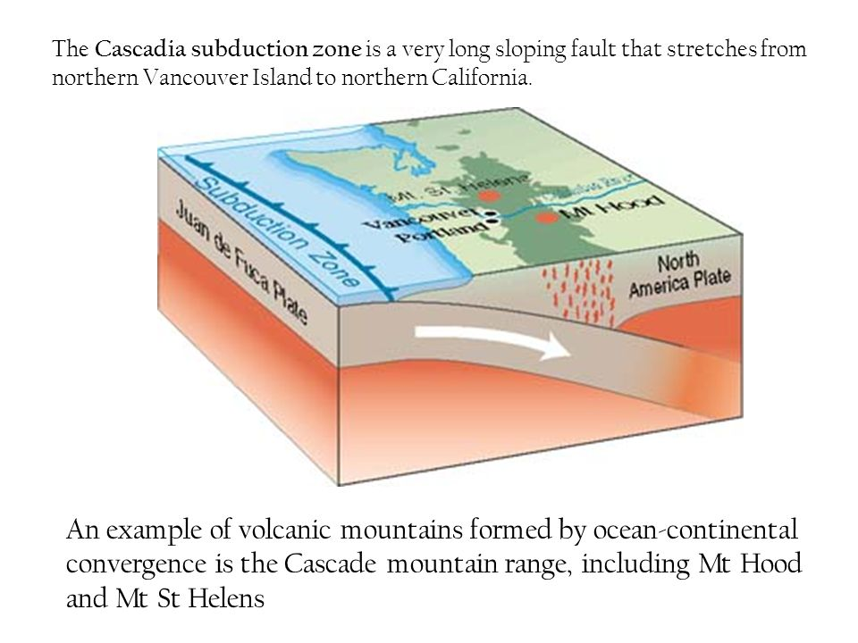 The Cascadia subduction zone is a very long sloping fault that stretches from northern Vancouver Island to northern California.