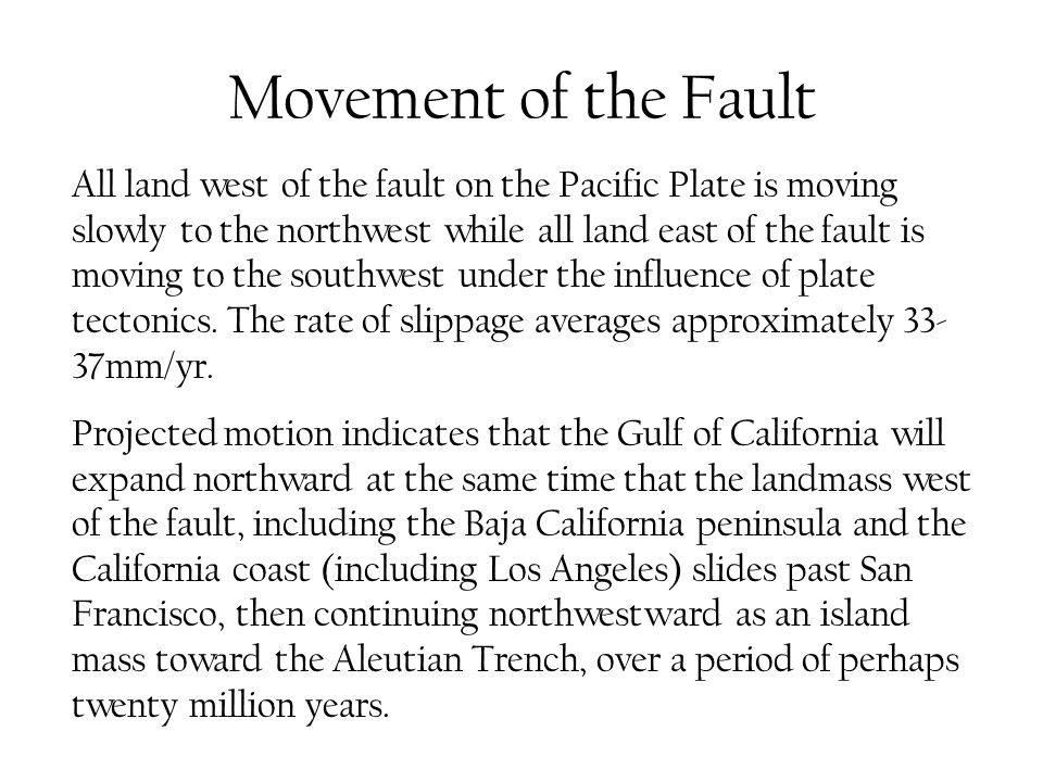 Movement of the Fault