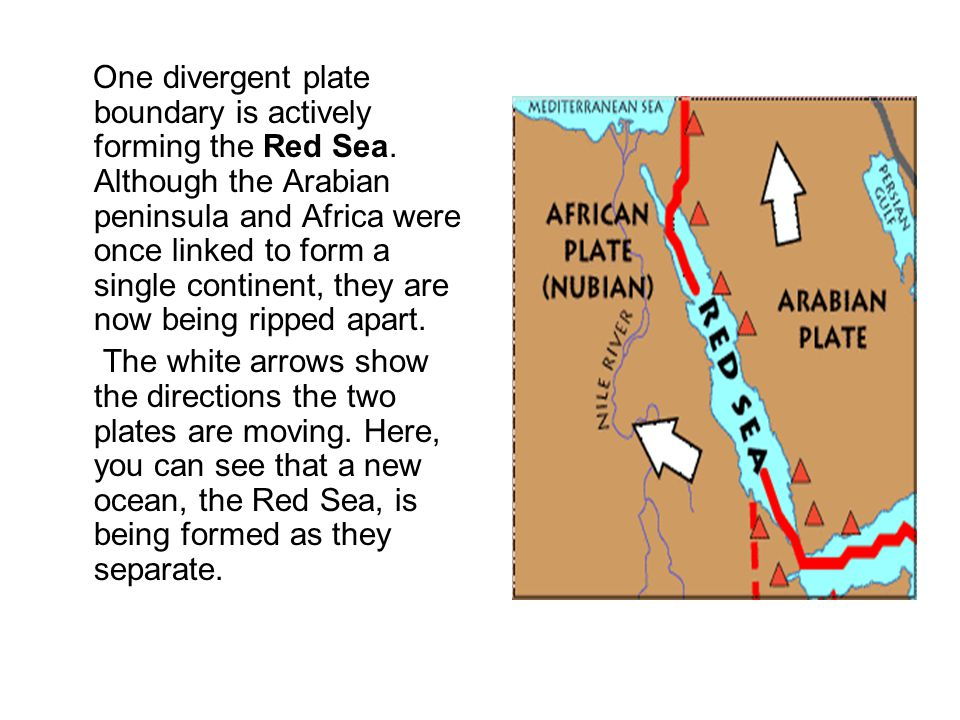 One divergent plate boundary is actively forming the Red Sea