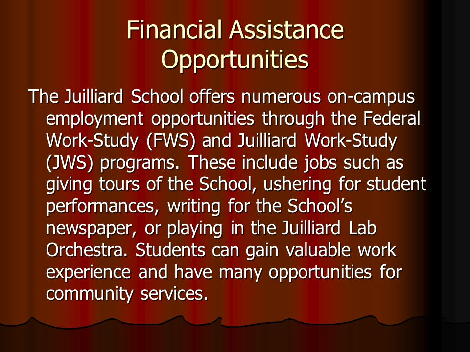 Financial Assistance Opportunities