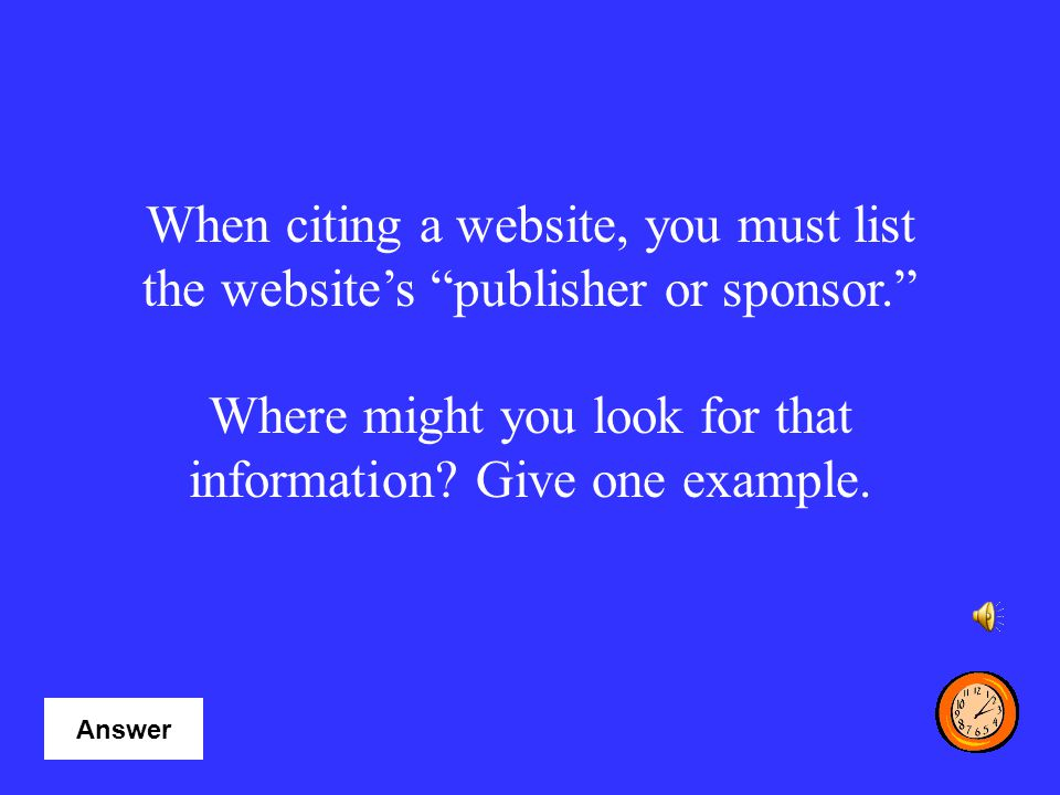 Where might you look for that information Give one example.