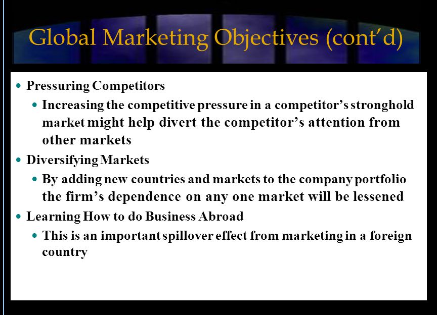 Global Marketing Objectives (cont'd)