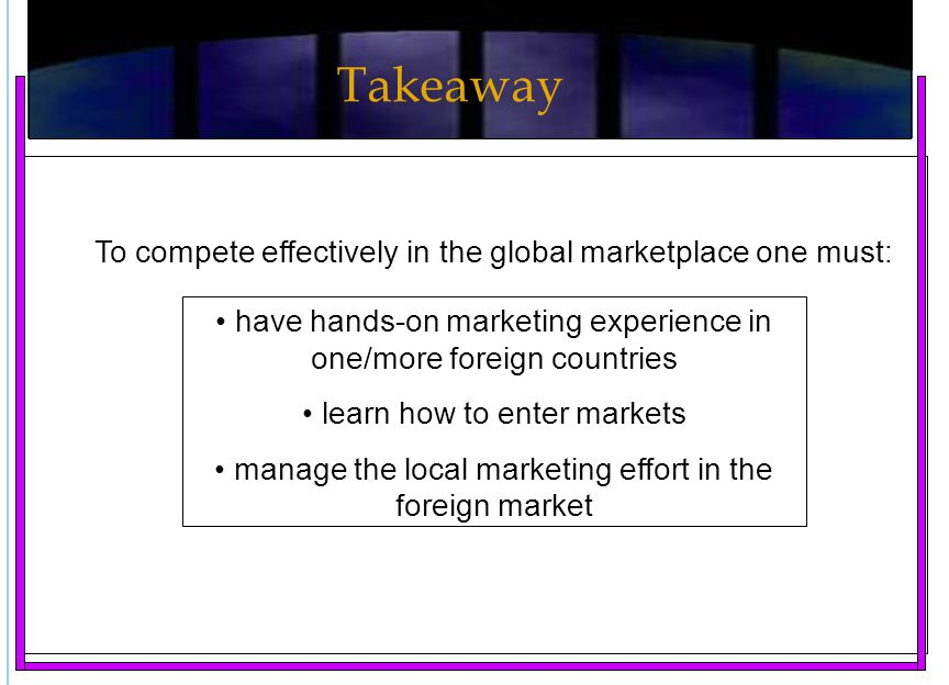 Takeaway To compete effectively in the global marketplace one must: