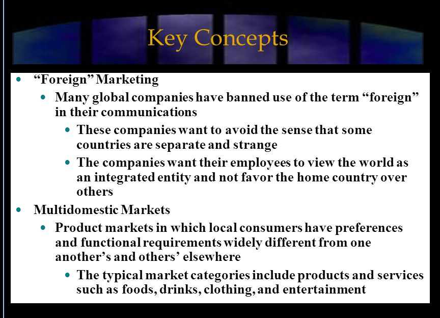 Key Concepts Foreign Marketing