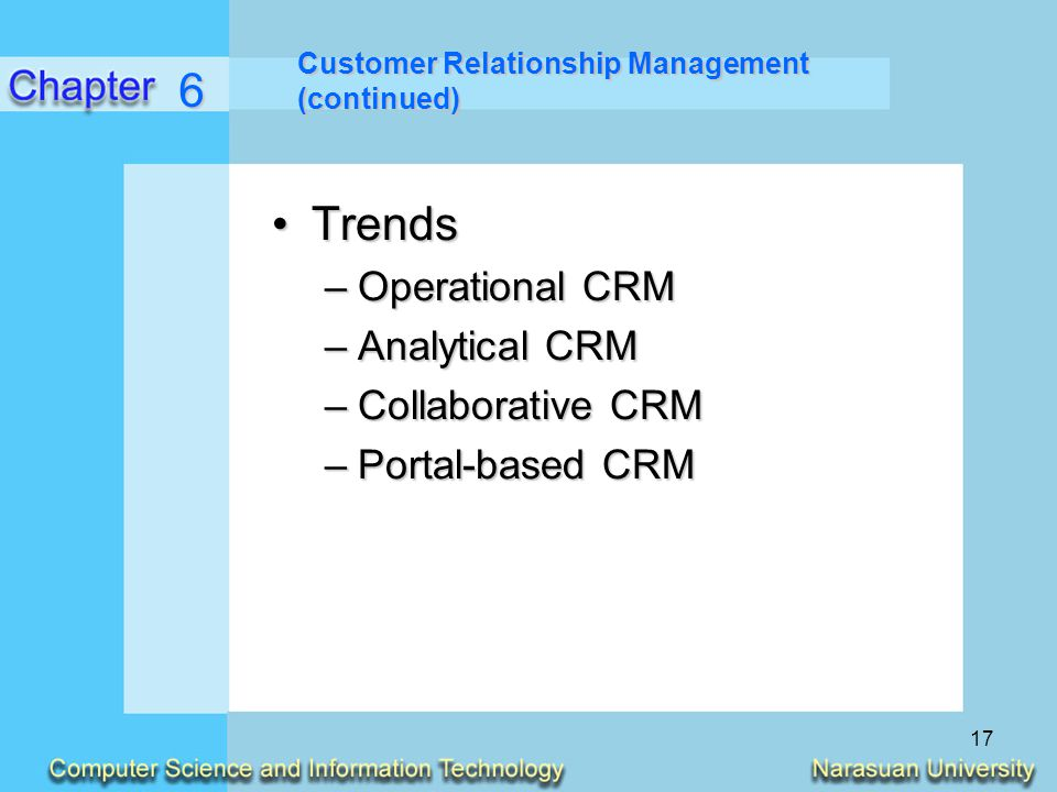 6 Trends Operational CRM Analytical CRM Collaborative CRM