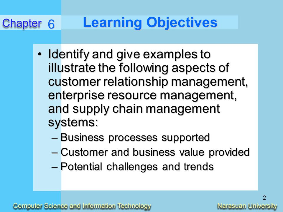 6 Learning Objectives.