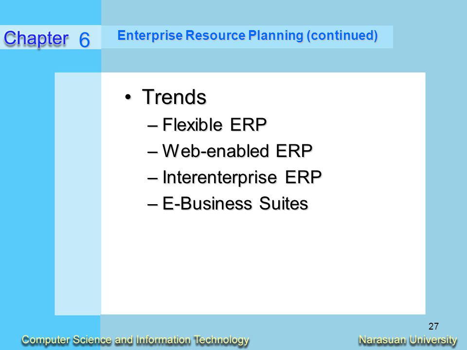 Enterprise Resource Planning (continued)