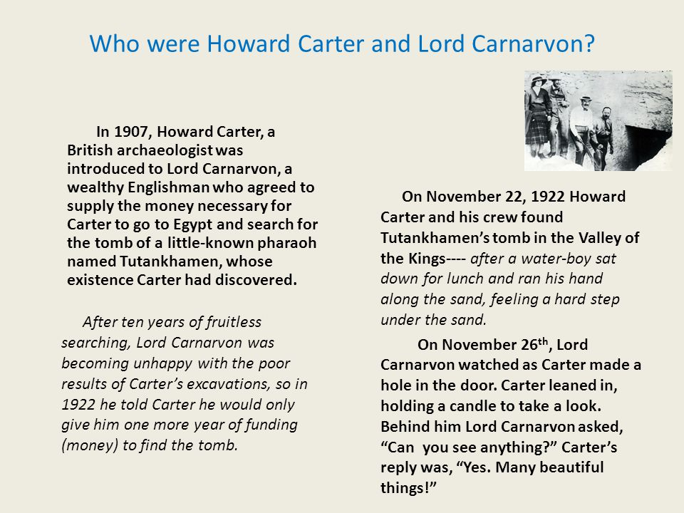 Who were Howard Carter and Lord Carnarvon